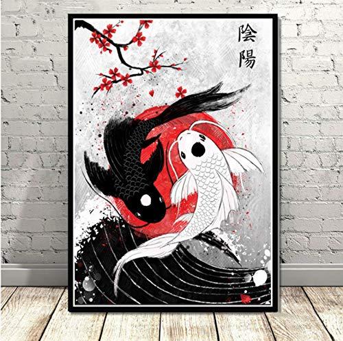 QINGRENJIE Plakate und Druck Japan Koi Fisch Poster Wandkunst Bild Leinwand Malerei für Raum Home Decor 50X70 cm ohne Rahmen