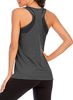 MIDOSOO Workout Tank Tops for Women Gym Exercise Athletic Yoga Tops Mesh Racerback Sports Shirts Running Shirts Activewear