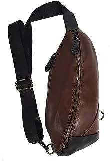 Shoulder Crossbody Bag Chest Pack,Men Vintage PU Leather (Brown)