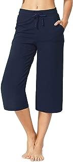 CUALITA Women's Active Lounge Yoga Capri Pants with Pockets