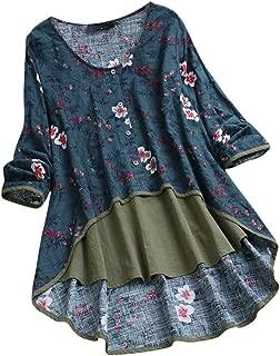 Sixpi Women Casual Irregular Floral Print Patchwork Long Sleeve T-Shirt Top Blouse