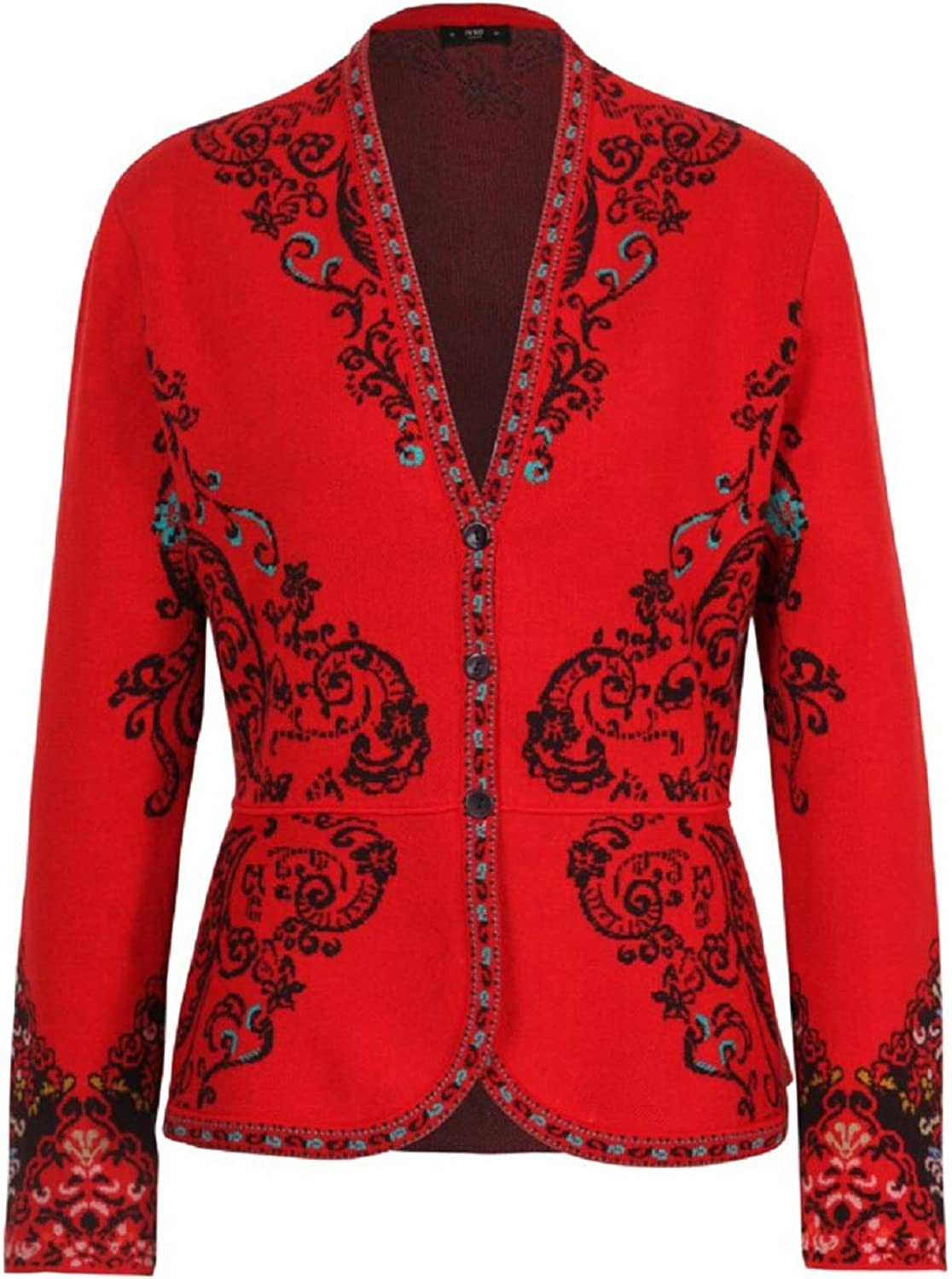 IVKO Floral Pattern Peplum Cardigan in Red Cotton Button Up Long Sleeve Sweater Jumper Jacket