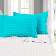 Cloth Fusion Amor 210 TC Satin Stripe Cotton Pillow Covers Set of 2 Pieces (18×27 Inch, Sea Green)