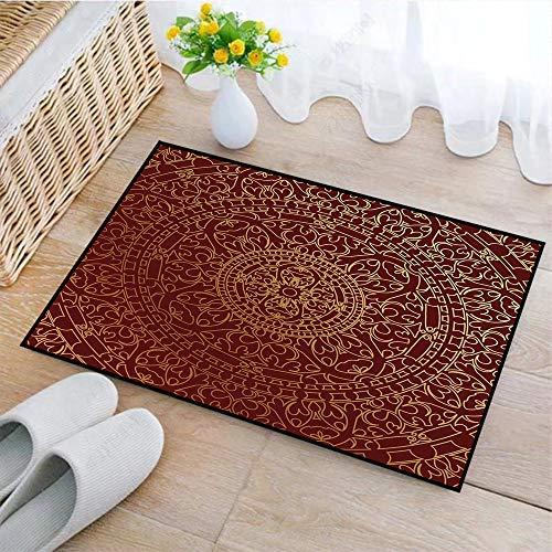 Rutschfeste Badematte 45x75cm,Kastanienbraun, antike arabische Kunstwerke orientalische Mandala inspiriert Runde Ornament marokkanischen ethn,Badteppich auswaschbar Mikrofaser Teppich für Badezimmer