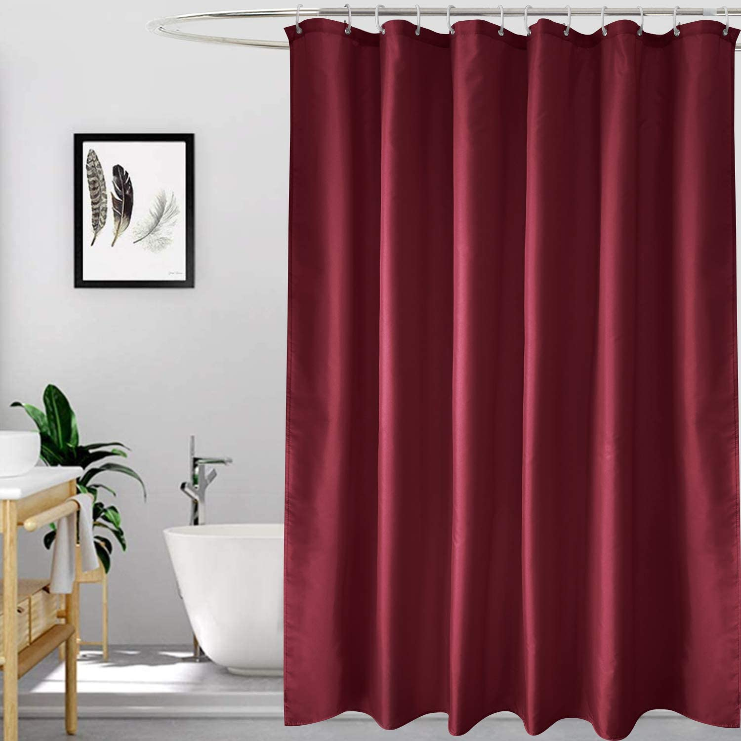 Hotel Durable for Bathroom Bathtub Showers Wine Red Guest Room EurCross Shower Curtain Liner 72 x72 Inch Solid Polyester Fabric Water Resistant Weighted Bottom Hem Set with Hooks Easy Clean for Home