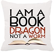 Both Sided Printing Happy World Book Day Gift Book Lover Reading Books Club Quotes I Am A Book Dragon Not A Worm White New Home Decorative Soft Cotton Throw Cushion Cover Pillow Case Square 18 Inches