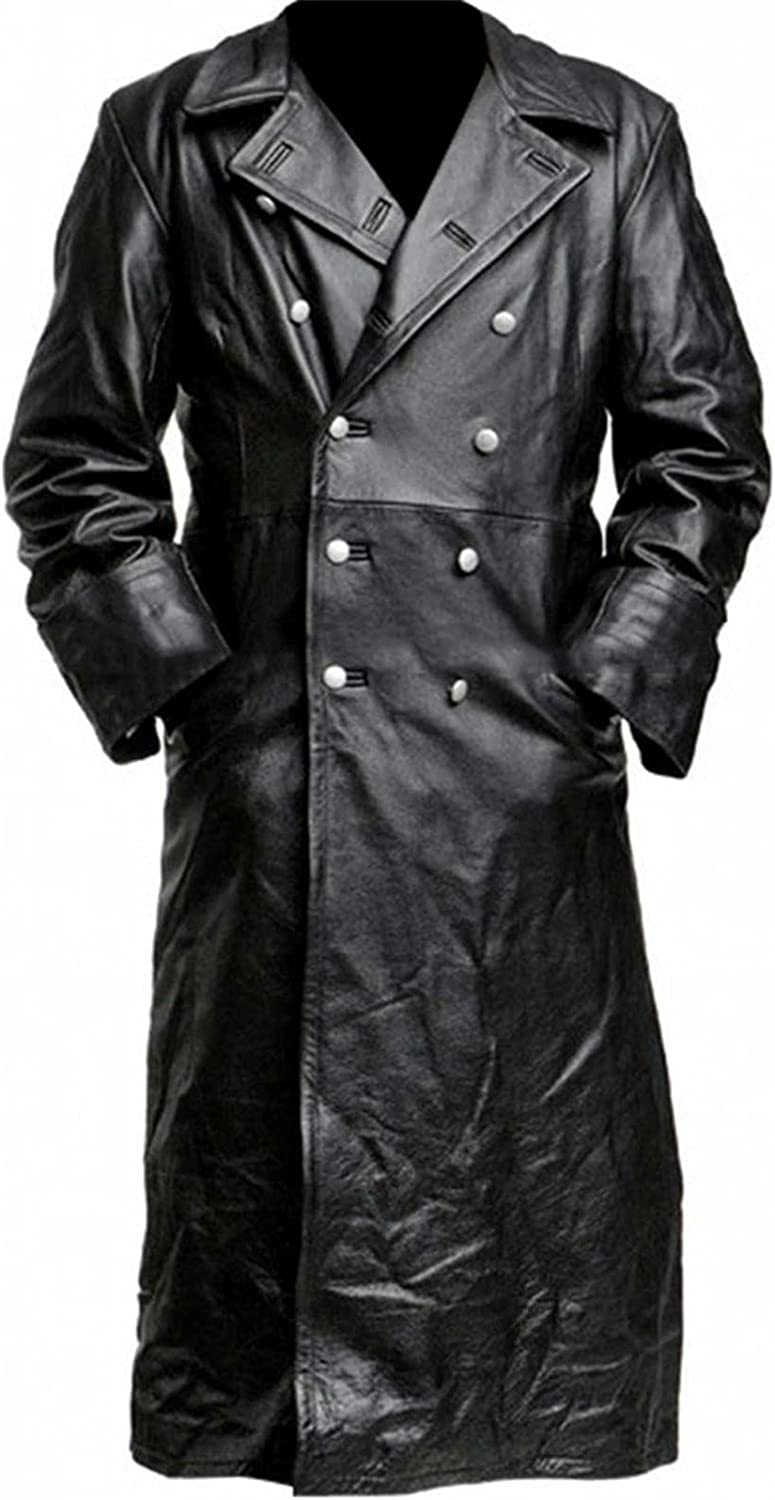 Men's Leather Jacket Fashion Long Trench Autumn Winter Casual Solid Long-sleeved Zip-Up Motorcycle Bomber Jacket
