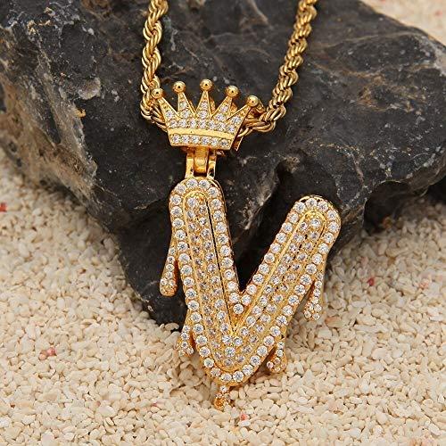 TREW Kroon van de douane Bail Drip Bubble Initial Letters chain kettingen & hanger for mannen vrouwen Gouden Kleur kubieke Zirkoon Hip Hop Jewelry