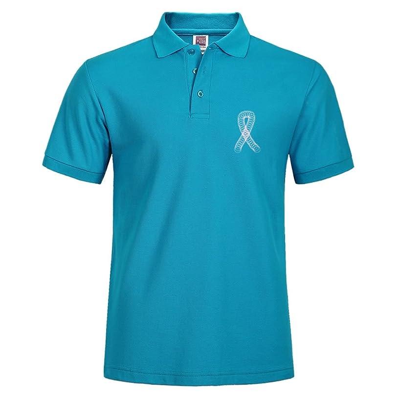 TamaVaug New Men Stylish Short Sleeve Casual Polo Shirt T-Shirts Tee Tops Squigles Breast Cancer Ribbon