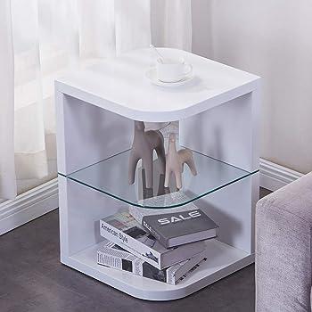 Festnight Tavolino da caff/è Rettangolare//Qdrato in Vetro Temperato Trasparente,Tavolino da Salotto Vetro Moderno con Ripiano,Tavolino per Divano Vetro Moderno 50x45x33 cm//98x45x31 cm