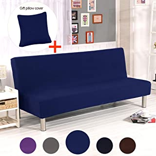 ele ELEOPTION Hengwei Armless Sofa Slipcover Stretch Sofa Bed Cover Protector Elastic Spandex Modern Simple Mattress Folding Couch Sofa Shield Futon Cover (Dark Blue)