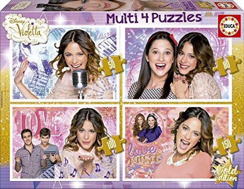 Educa 16190 - Kartonpuzzle - Multi Violetta, 4-er Pack