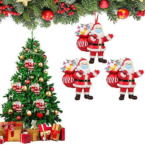 Bestine Juego de adornos navideños de 3/5/10 piezas, decoración de árbol de Navidad de resina 3D de 2020 en árboles de Navidad para decoración de sala de estar de fiesta familiar