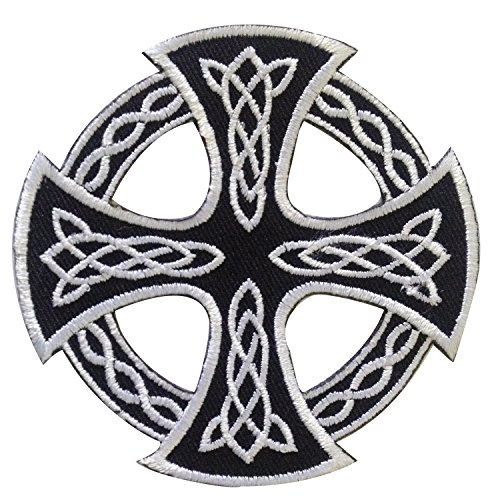 Celtic Patch for Backpack - Celtic Knot Iron on Patch for Jeans - Cool Iron on Patch - Circle Cross Iris Patch - Nice Size to Help Express Your Own Unique Style or Upgrade Your Favorite Items - Black