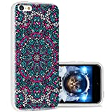 iPhone 5c Case Cool Cute,ChiChiC 360 Full Protective Anti Scratch Slim Flexible Soft TPU Gel Rubber Clear Cases Cover with Design for iPhone 5c,Pink Ocean Arabesque Henna Mandala Floral