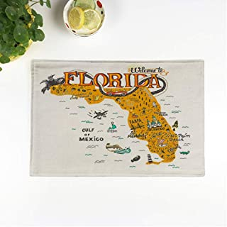 rouihot Set of 6 Placemats Cartoon of Florida Map Tourist Attractions Travel Miami Drawn Non-Slip Doily Place Mat for Dining Kitchen Table