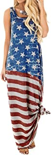 Women's Sleeveless Dress American Flag Summer Casual Loose Maxi Long Dress