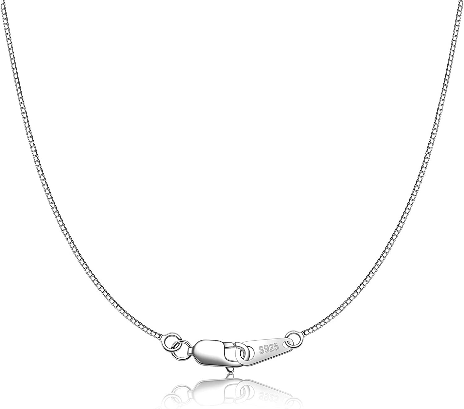 CIELTEAR 5 popular 925 Sterling Silver Chain Max 81% OFF Women Box Necklace for 0.8mm