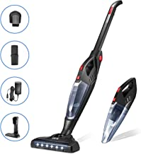 Cordless Vacuum Cleaner, 2 in 1 Stick Vacuum Cleaner, 8000 Pa MAX Lightweight Foldable Vacuum with Corner Lighting, 2200mAh Rechargeable Li-ion Battery, for Pet Hair and Car, Deik (Black)