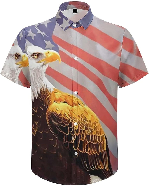 Mens Button Down Shirt American Flag Eagle Lightning Casual Summer Beach Shirts Tops