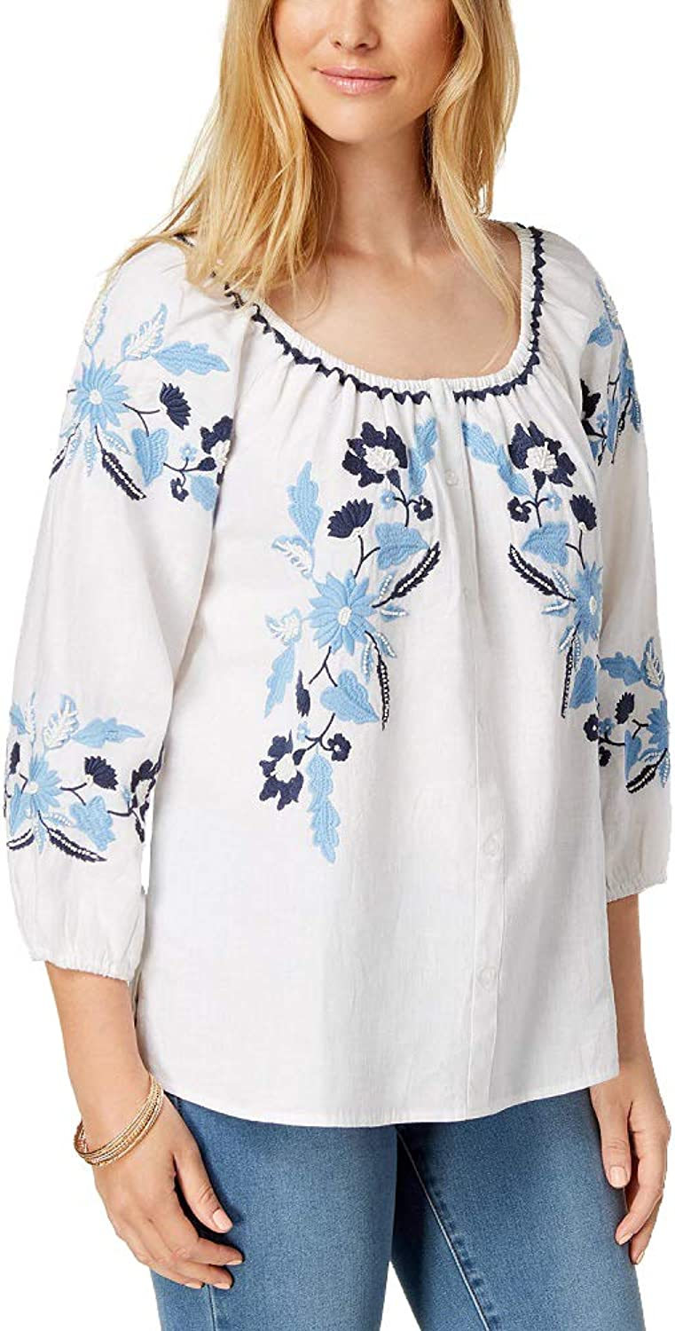 Charter Club Linen Embroidered Peasant Top Bright White