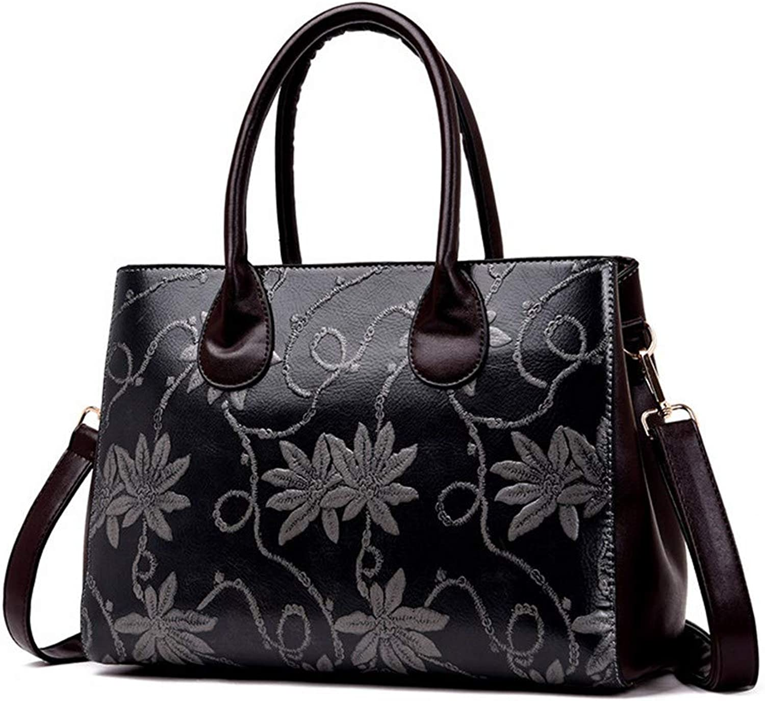NZZNB Fashion Flower-Pattern Women's Bag with Refined Ancient Printing Patterns Single-Shoulder Bag with Slant Bag Top-Handle Handbags