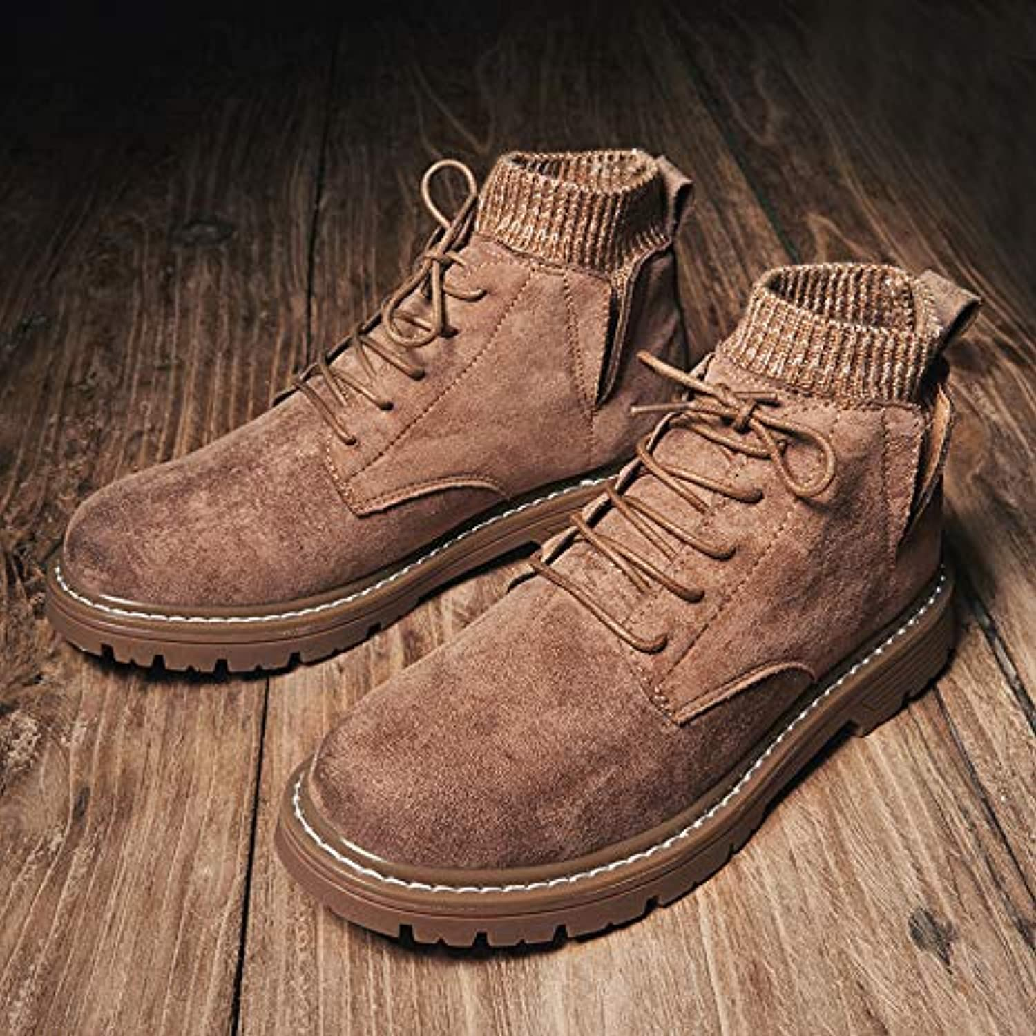 LOVDRAM Boots Men's Winter Martin Boots Leather Fashion Men'S shoes To Keep Warm High shoes Wild Work shoes Casual shoes