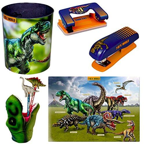 Spiegelburg T-Rex World 5-delige set 14539 14566 14502 14568 14569 prullenbak + pennenkoker + bureaublad + papierhechter + papierperforator