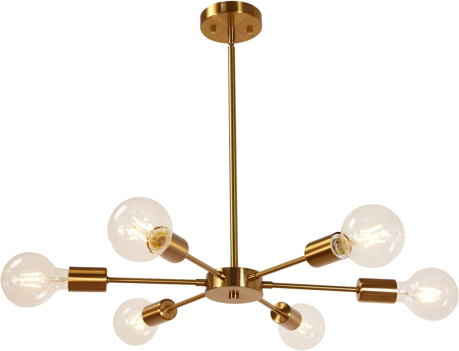 MELUCEE Modern Sputnik Chandelier 6 Lights Brass Chandelier Semi Flush Mount Ceiling Light Mid Century Pendant Light for Bedroom Foyer Dining Room Restaurant UL Listed
