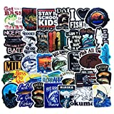 Vinyl Bass Fishing Stickers 50 Pcs Pack Blue Stickers Fly Fishing Decals for Laptop Ipad Car Luggage Water Bottle Helmet Truck