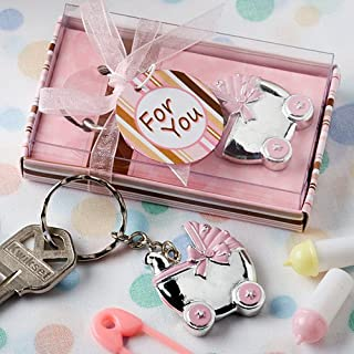 Baby Carriage Design Key Chains, Baby Shower Party Favors, Pink, Set of 20