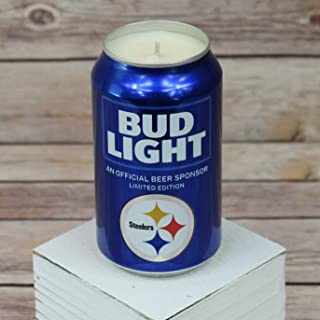 2018 Bud Light NFL Pittsburgh Steelers Team Football Beer Can Soy Candle with Custom Scent