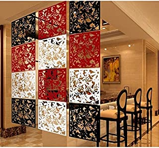 Flameer 12pcs Hanging Screen Room Divider Partition Wall Decal 3-Color Flower Panel