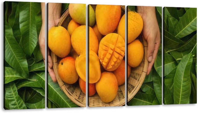 5 Panels Art Wall Decor Hand Bargain sale of farmer w in mango Ranking TOP20 carrying fruit