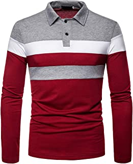 Mens Fashion Polo Shirts Long Sleeve Rugby Shirts Patchwork Tops