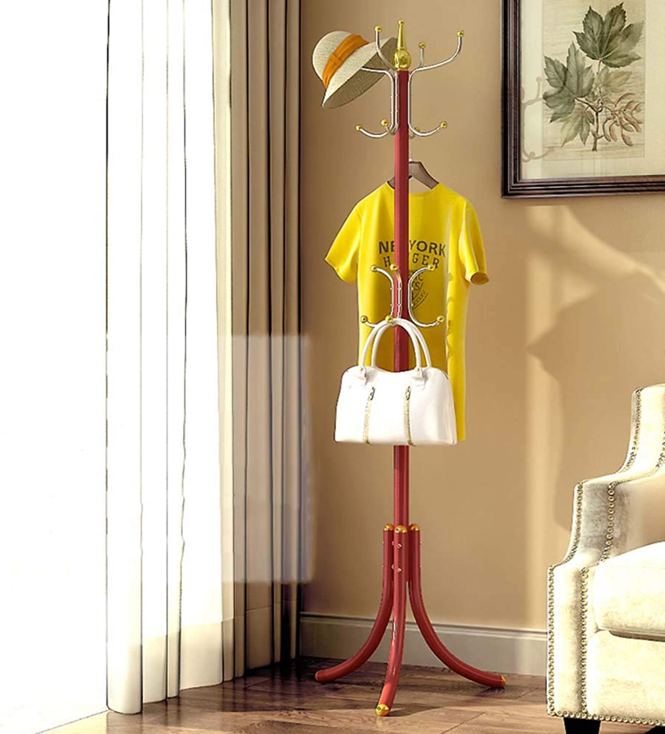 Chunlan Coat rack Metal Coat Rack, Hat Rack, Umbrella Stand, Suitable for Home Or Office (color   RED)