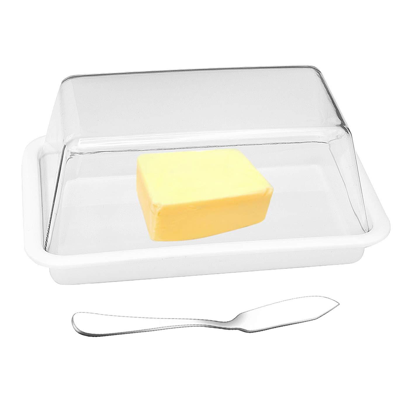 e!Orion Mantequera de plástico con Cuchillo esparcidor de Mantequilla, Bandeja de Almacenamiento Duradera para Mantequilla: Amazon.es: Hogar