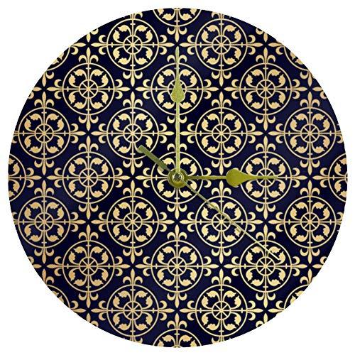 Ezioly Acryl-Wanduhr, Gothic-Stil, goldfarbenes Muster, 25,4 cm, leise, nicht tickend, Quarz, batteriebetrieben, ungeschaltet, runde Wanduhren, dekorativ für Zuhause, Büro, Schule