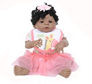 Dirance 22 Inch Lifelike Reborn Toddlers Doll Open Eyes Soft Silicone Vinyl Full Body Realistic Pink Girl Doll Realife Newborn Baby Doll Outfits, Kids Gift for Ages 3+,Under 60 Dollars (B)