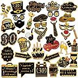 HOWAF 39 pz Nero Oro Photo Booth Compleanno 30 Anni Gadget Foto Props Accessori Kit Compleanno Puntello Decorazioni DIY per Festa 30 Anni Compleanno Uomo Donna