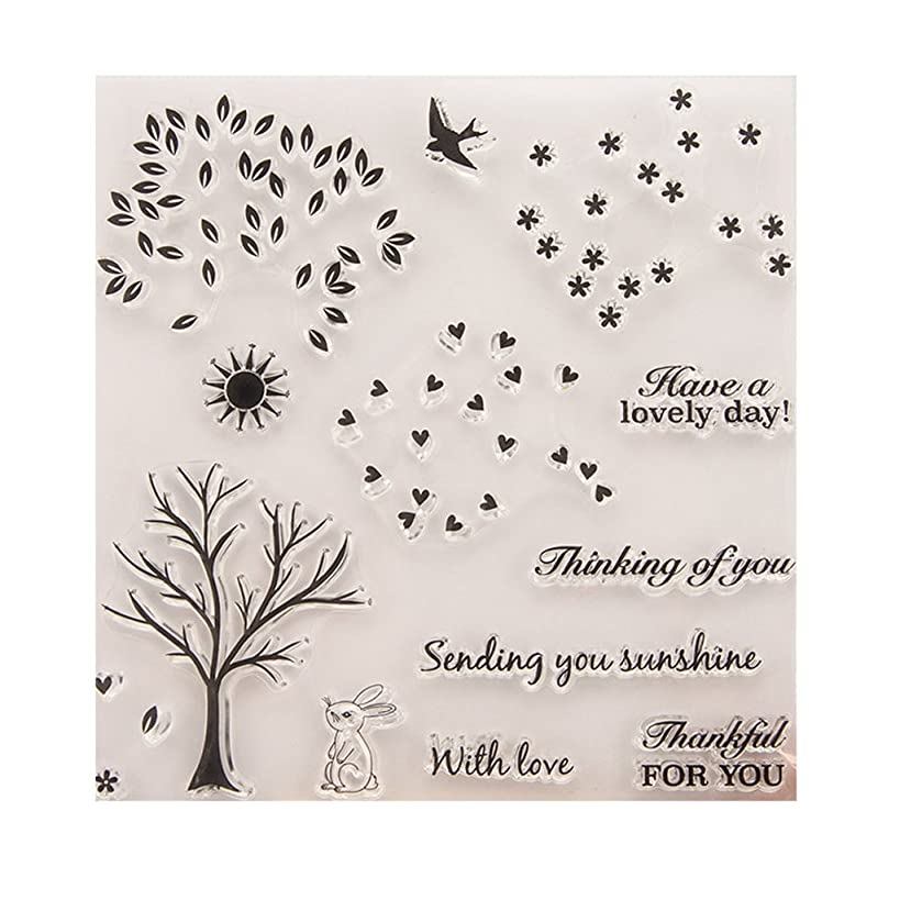 ?JaneMo New Arriving Clear Stamps Trees with DIY Leaves for Card Making Transparent Silicone Clear Rubber Stamp Cling Diary Scrapbooking DIY Art Craft Decoration