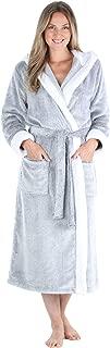 Women's Fleece Long Sleeve Robe Sherpa-Lined Hooded Bathrobe