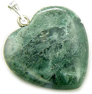 33x26x5 mm Natural Moss Agate Gemstone Moss Agate Silver Necklace Jewelry Pear Shape Natural Moss Agate Gemstone