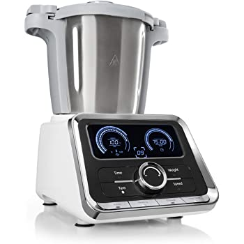 Klarstein GrandPrix - Robot de cocina, Batidora, Maquina de amasar, 500-1000W, Recipiente de acero inoxidable, 2,5L, Temperatura ajustable entre 30 y 120ºC, 12 velocidades, Acero/Blanco: Amazon.es: Hogar