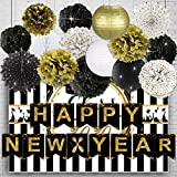 JoyTplay Silvester deko 2021 Neujahr deko 2021 Silvester Dekoration Set - Pompoms Blumen,hängen Papierfans Silvester Party deko Neues Jahr