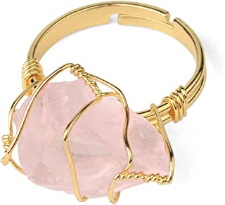 COLORFUL BLING Healing Chakra Irregular Crystal Natural Stone Gemstone Ring Wire Wrap Opening Adjustable Rings Rock Person...