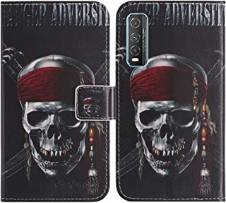 TienJueShi Skull Fashion Stand TPU Silicone Book Stand Flip PU Leather Protector Phone Case For Vivo Y70t 6.53 inch Cover ...