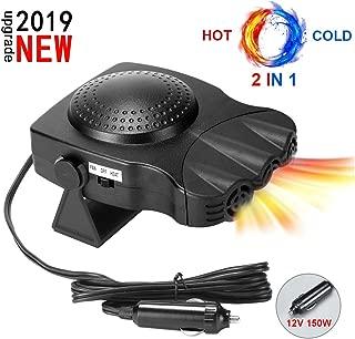 2019 Portable Car Heater, Auto Electronic Heater Fan Fast Heating Defrost 12V150W, Cooling Car Space & Fast Heating Automobile Windscreen Fan, 2 In 1 Heat Cooling Fan Ceramic Plug In Cig Lighter-Black