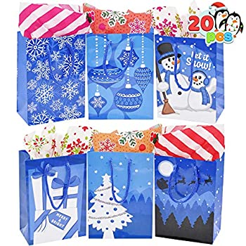 20 Pcs Blue Christmas Gift Bags Christmas Gift Bags Holiday Paper Bags with 6 Designs for Christmas Gift-Giving