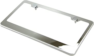 Circle Cool T304 Stainless Steel Polish Mirror License Plate Frame Holder Tag w/ Chrome Metal Cap